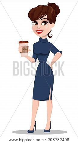 Young cartoon businesswoman. Beautiful lady holding cup of coffee. Fashionable modern business woman. Vector illustration