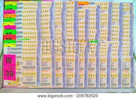 Had-Yai, Thailand - June 5, 2015 Thailand lottery ticket for sell in market.