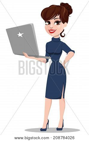 Young cartoon businesswoman. Beautiful lady holding laptop. Fashionable modern business woman. Vector illustration