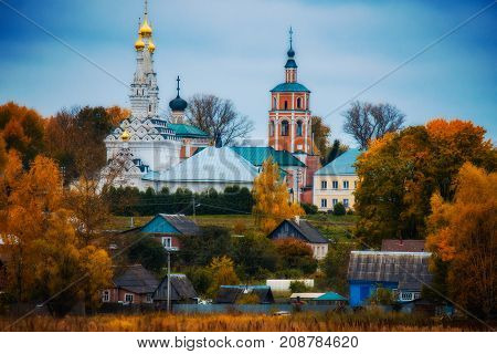 Cathedral of the Hodegetria Vyazma is on a hill in late autumn