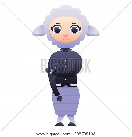 Modern business woman sheep isolated on white background. Vector illustration