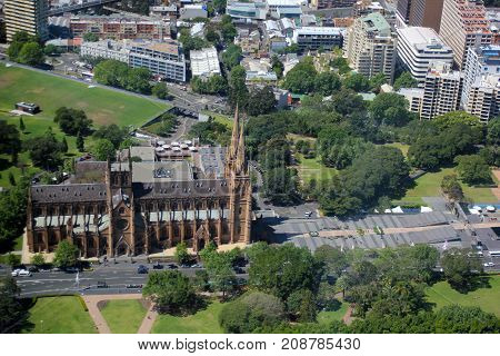 Urban buildings, cathedral and park in the city centre, Sydney, Australia