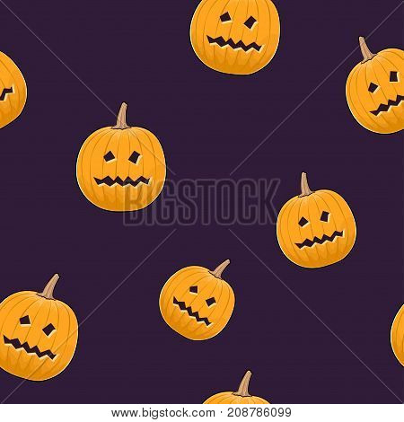Seamless Pattern of Carved Terrible Scary Halloween Pumpkin Jack-o-Lantern Illustration