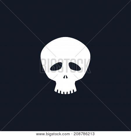 White Funny Skull Isolated Silhouette Skull on Black Background Death's-head Black and White Illustration