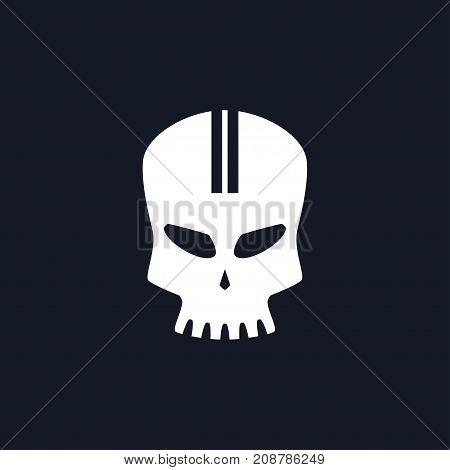 White Sport Moto Speed Skull Isolated Silhouette Skull on Black Background Death's-head Black and White Illustration