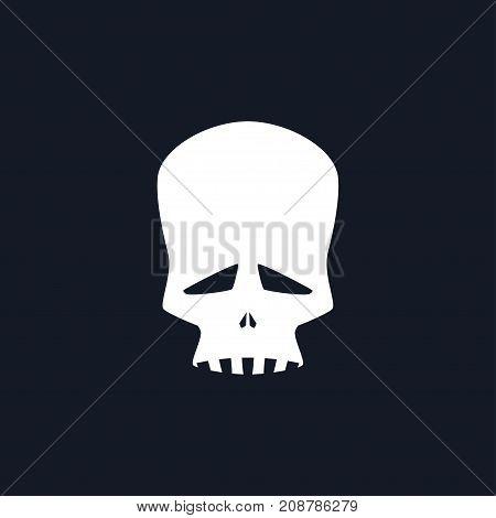 White Sad Skull Isolated Silhouette Skull on Black Background Death's-head Black and White Illustration