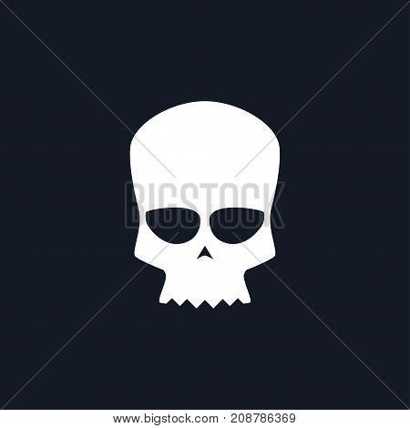 White Biker Skull Isolated Silhouette Skull on Black Background Death's-head Black and White Illustration
