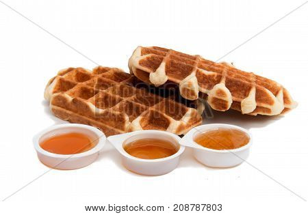 waffles delicious dessert isolated on white background