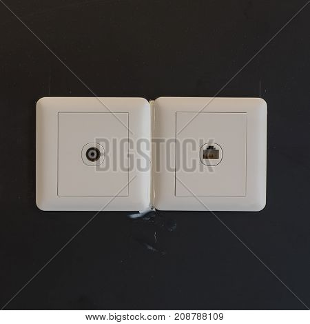 White Electric Plugs Or Outlet On Wall During Construction