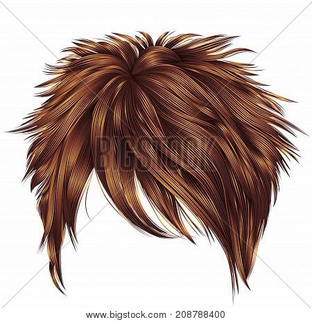 trendy woman short hairs Red ginger redhead colors . fringe . fashion beauty style . realistic 3d .