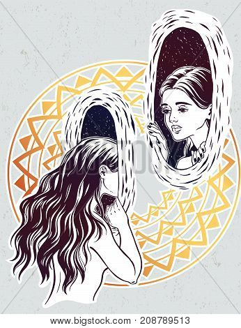 Beautiful girl looking through the magic teleport wormhole in vinatge style. Circus illusion and surreal art. For tattoo, cyberspace, psychodelic, witchcraft symbol. Isolated vector illustration.