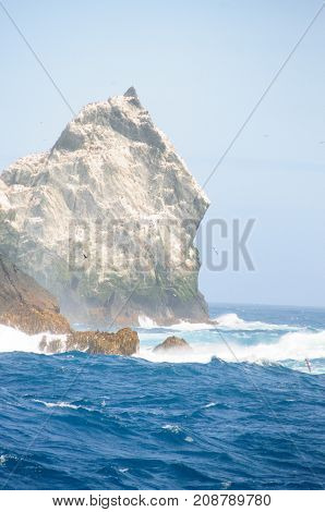 The Shag Rocks are six small, uninhabited, islands on the most western part of South Georgia. They are named after the South Georgian Imperial Shags, a sub-species of Comorants.