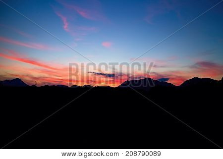Autumn sunset over the Choc mountains on Liptov in Slovakia. Mountains, sky and colors background