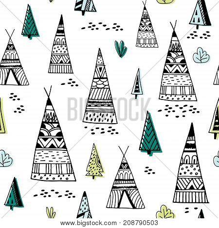 Tribal indian wigwam pattern. Doodle childish minimalist background.Vector Illustration