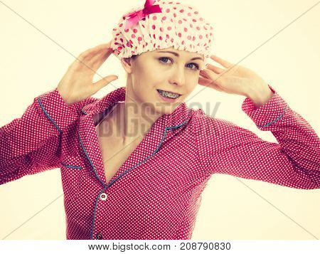 Funny Woman Wearing Pajamas And Bathing Cap