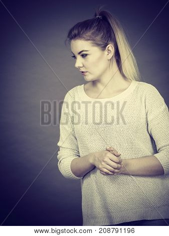 Sad Woman Showing Thumb Down Gesture