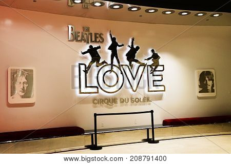 LAS VEGAS, USA - October 9, 2017: Entrance to The Beatles Cirque du Soleil Theater Love Show at The Mirage