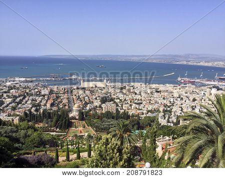 The Israeli city of Haifa harbor on the Mediterranean Sea is an economic metropolis