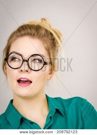 Business Woman Being Positive Shocked
