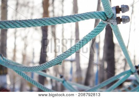 Ropes rope knots on the background of trees