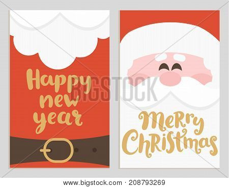 Santa's message banners for happy New Year and Merry Christmas. Cards with handrawn lettering. Vector illustration.