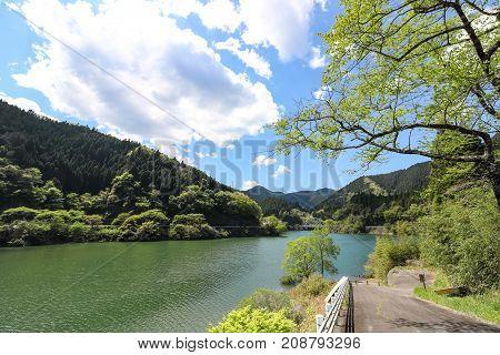 Landscape of Lake Midori in Aichi, Japan.