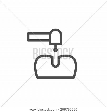 Dental treatment line icon isolated on white. Vector illustration
