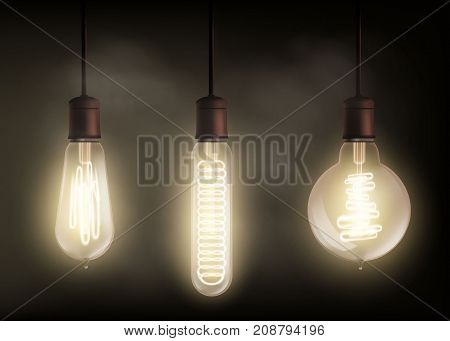 Set of vintage spiral light bulb is glowing in the dark. Technology retro background. Stock vector illustration.