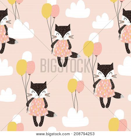 Seamless childish pattern with cute cats air balloon and clouds. Creative nursery background. Perfect for kids design fabric wrapping wallpaper textile apparel