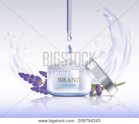 Cosmetic Cream With Lavender Flowers. Splashes Of Water With Drops. Packing Brand Design. Stock Vect