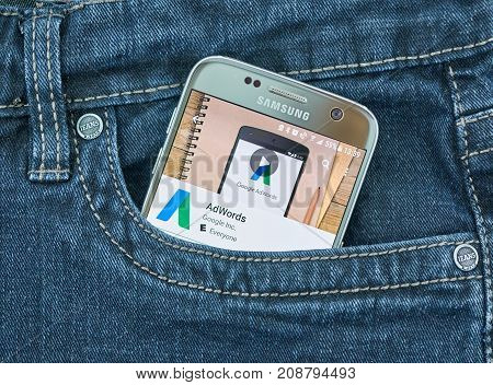 MONTREAL CANADA - OCTOBER 2 2017: Google Adwords android app on S7. Google AdWords is an advertising service by Google for businesses wanting to display ads.