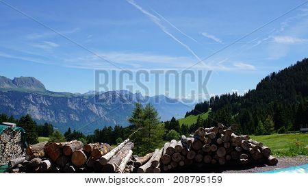 View from the Flumserberg in the canton of St. Gallen to the Swiss mountains in the foreground wooden pile