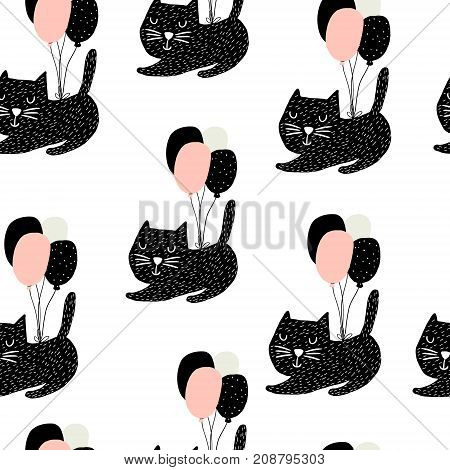 Seamless childish pattern with cute cats flying with balloon. Creative nursery background. Perfect for kids design fabric wrapping wallpaper textile apparel