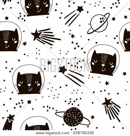 Seamless childish pattern with cute cats astronauts. Creative nursery background. Perfect for kids design fabric wrapping wallpaper textile apparel