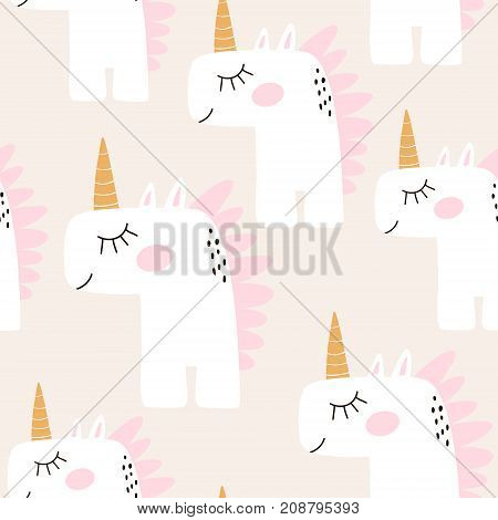 Cute seamless pattern with fairy unicorns. Childish texture for fabric textile. Scandinavian style. Vector Illustration