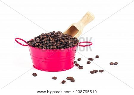 coffee bean in red can on white
