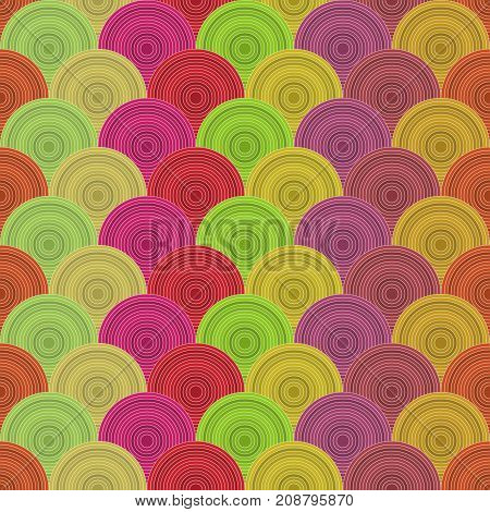 Traditional Japanese seamless pattern. colored fish squama. Mermaid scales. Stock vector