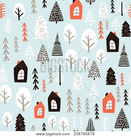 Seamless pattern with winter houses wood trees and ink drawn elements. Creative christmas background. Vector Illustration