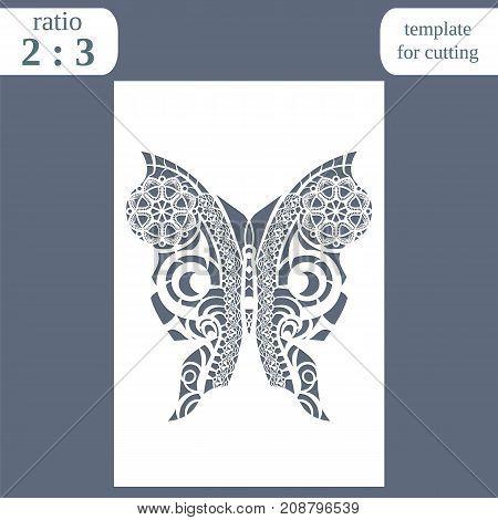 Laser cut wedding card template paper openwork greeting card template for cutting pattern butterfly lasercut metal panel vector illustration