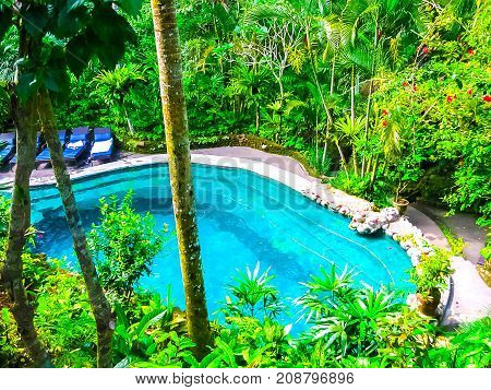 Bali, Indonesia - April 12, 2012: View Of Swimming Pool At Hotel Tjampuhan And Spa At Ubud