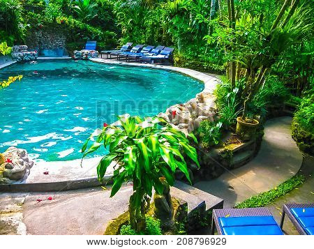 Bali, Indonesia - April 13, 2012: View Of Swimming Pool At Hotel Tjampuhan And Spa At Ubud