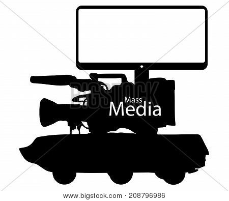 Mass media news fake information war. Digital fraud technologies. Camera Tank Tv