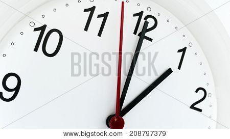 Closeup Clock Ticking Showing One Hour