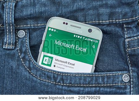 MONTREAL CANADA - OCTOBER 10 2017 Microsoft Excel android application on Samsung S7. Microsoft Excel is a spreadsheet developed by Microsoft for Windows macOS Android and iOS