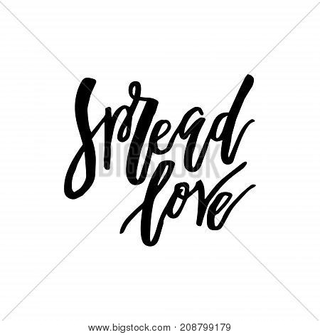 Merry Christmas card with calligraphy Spread Love. Template for Greetings, Congratulations, Housewarming posters, Invitations, Photo overlays. Vector illustration