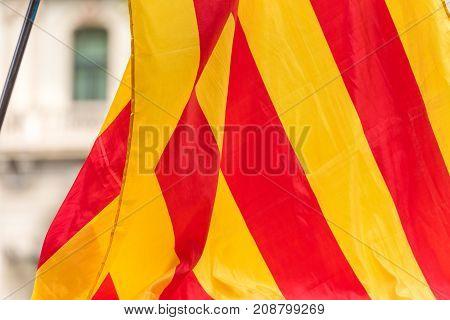 An Estelada, The Catalan Separatist Flag, Barcelona, Catalunya, Spain. Close-up.
