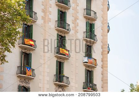 View Of The Balcony With A Flag. Referendum On Independence, Barcelona, Catalunya, Spain. Copy Space