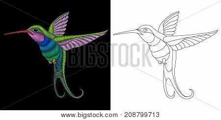 Embroidery design with flying hummingbird. Collection of embroidered elements for fabric and textile prints patches stickers.