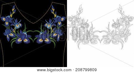 Embroidery neckline design. Iris flowers bouquet. Collection of floral elements for dresses t-shirts and blouses.