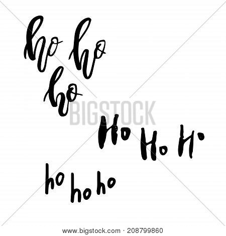 Merry Christmas card with calligraphy Ho Ho Ho. Template for Greetings, Congratulations, Housewarming posters, Invitations, Photo overlays. Vector illustration